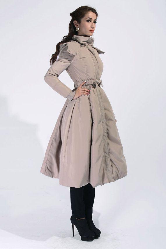 Khaki Long Parka With Hood Down Filled Long Coat Big