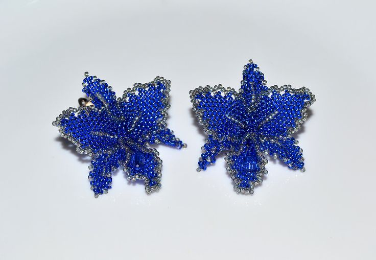 Orchids earrings | biser.info - all about beads and beaded work