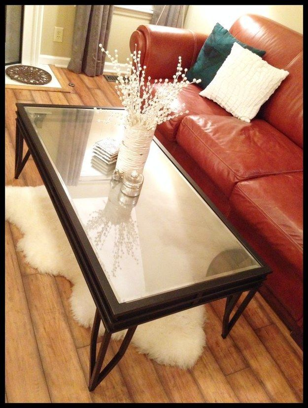 Fake a mirrored top. | 33 Ways Spray Paint Can Make Your Stuff Look More Expensive