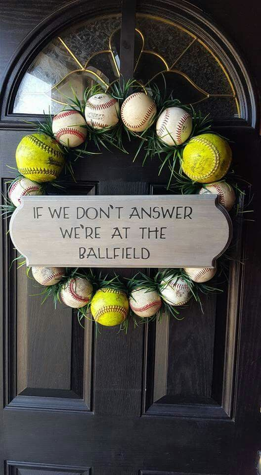 Baseball Softball Door Wreath - this pic was found on Facebook and referenced Pinterest. Devin K Designs on Facebook makes and sells a…