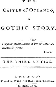 Gothic fiction, sometimes referred to as Gothic horror, is a genre or mode of literature that combines elements of both horror and romance. The effect of Gothic fiction feeds on a pleasing sort of terror.  Horror, terror, and melodrama were other long-standing features of the Gothic initiated by Walpole. It originated in England in the second half of the 18th century and had much success during the English romantic period with Mary Shelley's Frankenstein and the works of Edgar Allan Poe.