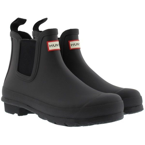 Hunter Women's Original Chelsea Matte Rubber Boots Black in black,... (£99) ❤ liked on Polyvore featuring shoes, boots, ankle boots, black, hunter boots, short boots, black bootie boots and flat boots