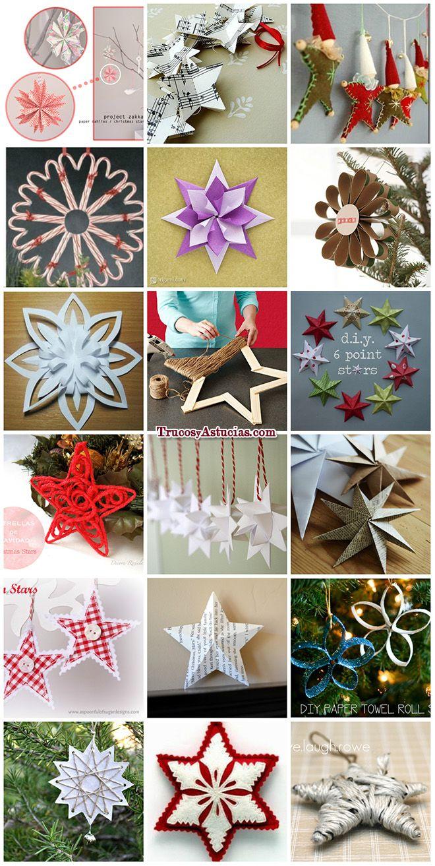 Estrellas de navidad caseras hechas con manualidades decoracion crafts ideas original ver - Manualidades para decorar en navidad ...