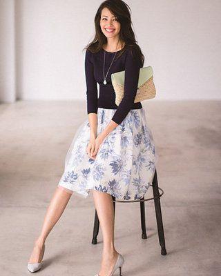 FAVRICAで通販サイトをまとめてチェック。華やかなフラワー柄が、女性らしい雰囲気を漂わせるスカート♪程良く透けるチュールマテリアルで、フェミニンな表情をプラスします。ふんわり上品に広がるフレアシルエットも魅力的。※画...