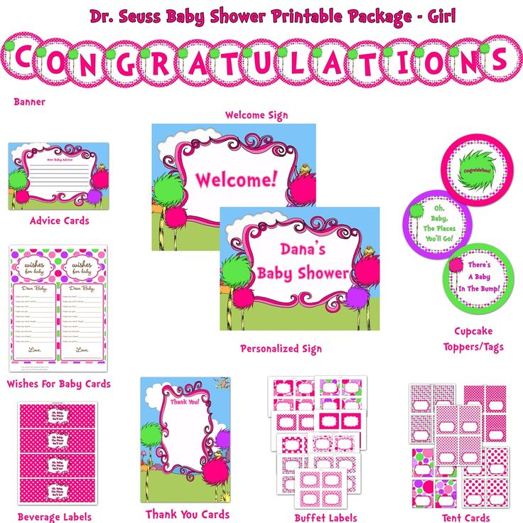 Dr. Seuss Girl Baby Shower Deluxe Printable Package, Pink