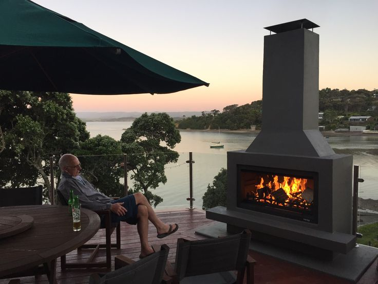Wow, what a sunset, what a view, what a fireplace.