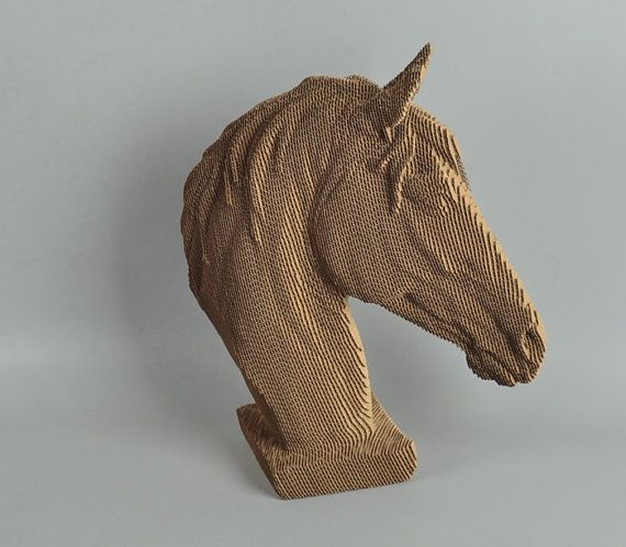 Horse Head Diy Cardboard Sculpture Diy Papercraft 3d