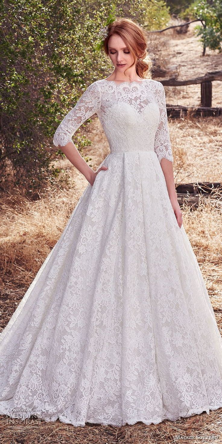 This allover lace gown was inspired by the designer's grandmother's wedding dress! Cordelia by Maggie Sottero <3
