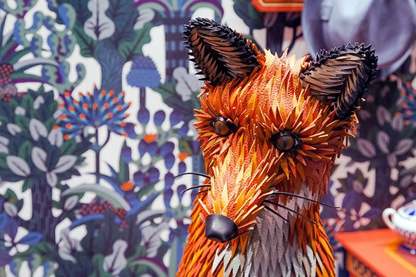 Close up of the paper folded fox