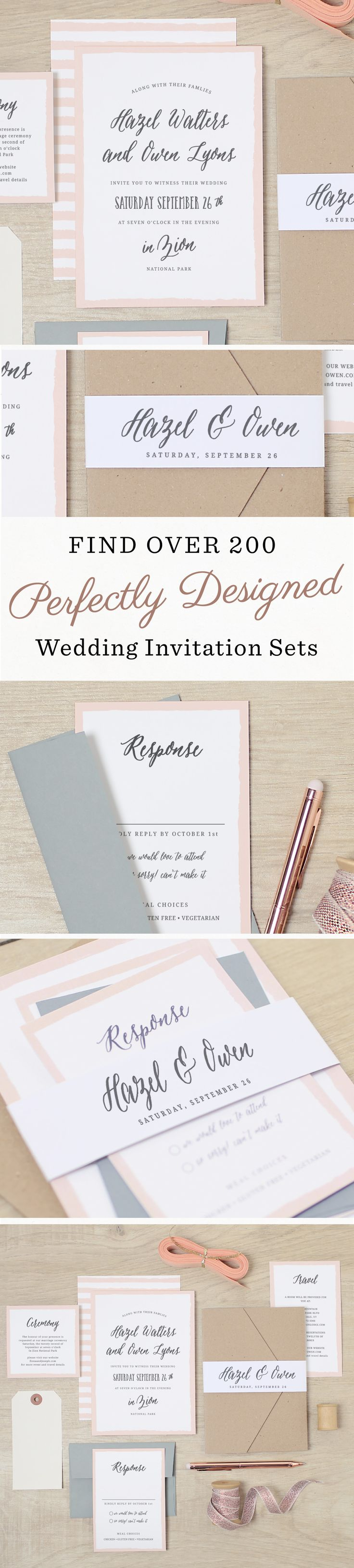Create the perfect wedding invitation set with 200 unique designs that offer matching save the dates, wedding invitations,  enclosure cards, wedding menus, programs, and thanks you cards. Then make it stand out with accessories such as pockets, belly bands and logo squares.