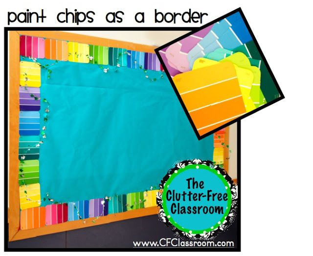 How cool is this! You can use paint chips as a border for your St. Patrick's Day, Easter, or spring theme bulletin boards!