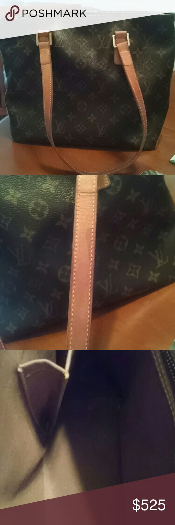 Authentic Louis Vuitton  Tote Cabas Piano small tote .Monogram coated canvas in good condition.Some wear and discoloration on handles/Patina. Zipper has tiny spot where brass color wore away.Inside in good shape .Base has watermarks and scratches Wear at corners of bag on leather.Its a great everyday bag. Louis Vuitton Bags Totes