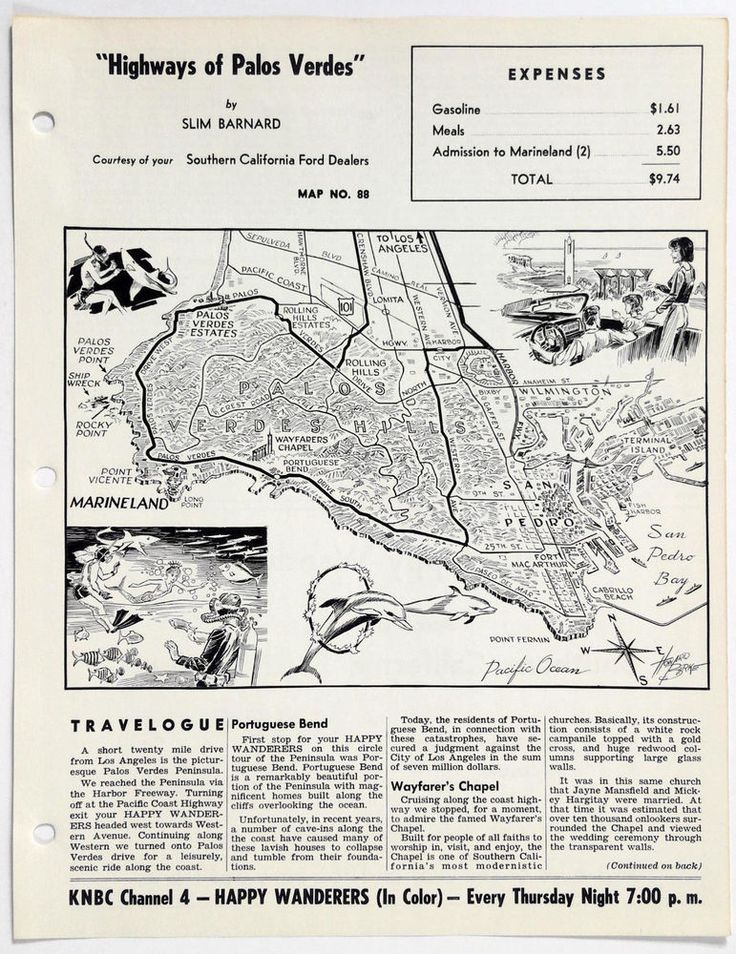 1960's PALOS VERDES CA Happy Wanderers Travelogue Slim Barnard Map MARINELAND
