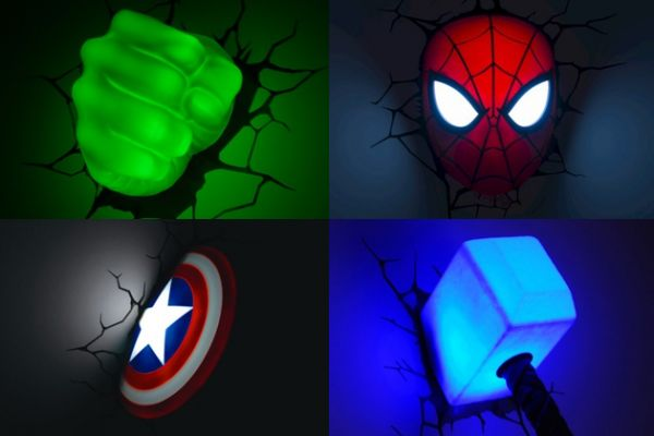 3D Light FX Marvel Comics Super Hero 3D Deco Lights include Spider-Man, Hulk, Iron Man, Captain America and Thor.