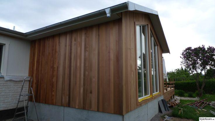 utbyggnad,cederträ,aluzink,stora fönster,cedertra.se,cederträ:väst,stående panel,fasad,hängrännor