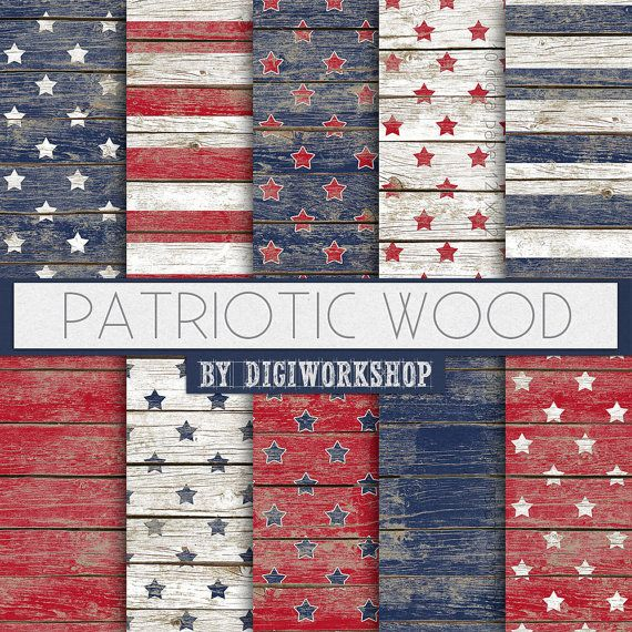 Wood Digital Paper: Patriotic Wood with stars and by DigiWorkshop