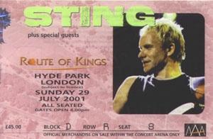 Sting, London, 2001