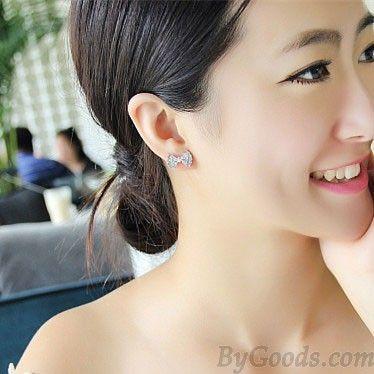 Mode Zircon Rhinestone Bogen Ohrringe