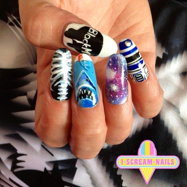 We have always been obsessed with @blackmilkclothing!!! Happy  belated 4th birthday Black Milk… We did these nails especially for you xo #blackmilk #blackmilkclothing #melbourne #melbournenailart #nails #nailart #iscreamnails  (at I Scream Nails)