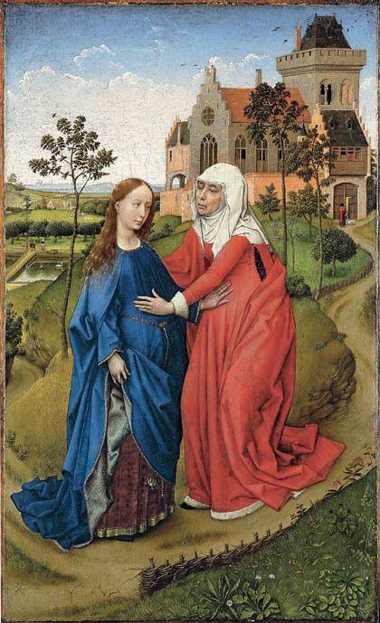 Roger Van der Weyden. La visitation. Vers 1445.  Musée de Leipzig.