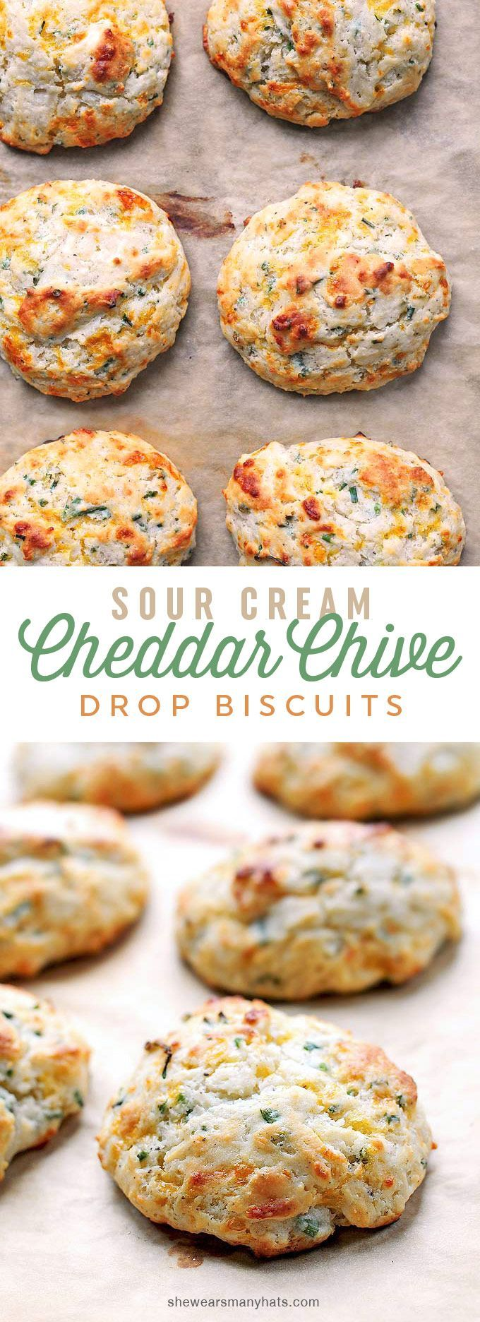 Easy Sour Cream Cheddar Chive Drop Biscuits Recipe | shewearsmanyhats.com