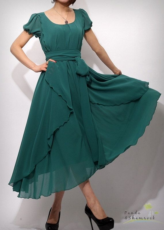 This dress is made of chiffon, it is draping and flowing. It is good for everyday work and going out to play.$95.00