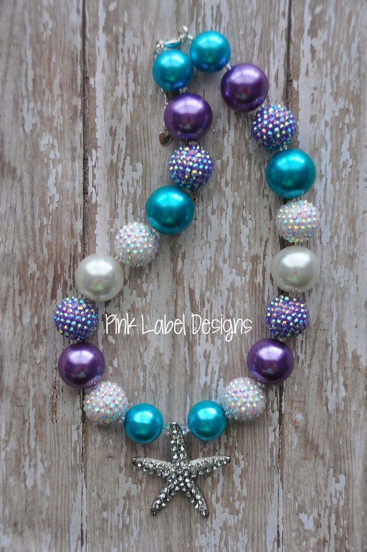 Purple Aqua & White Chunky Bead Necklace with by PinkLabelDesign, $22.00