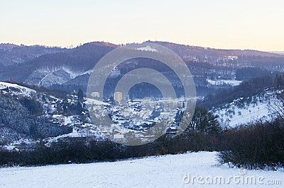 Winter landscape with frozen hills, located in Moravian Beskydy mountains, part of Czech Republic