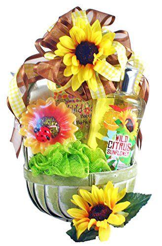 Wild Citrus Sunflower Spa Gift Basket for Women