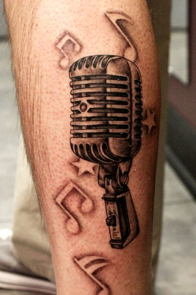 microphone Tattoos For Women | Arm Realistic Microphone Tattoo by Bugaboo Tattoo