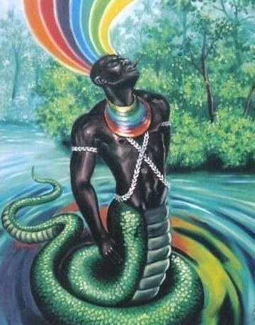 Oshunmare (known as Ochumaré or Oxumaré in Latin America) is an Orisha.. Osumare is the god of the rainbow, and Osumare also means rainbow in the Yoruba Language