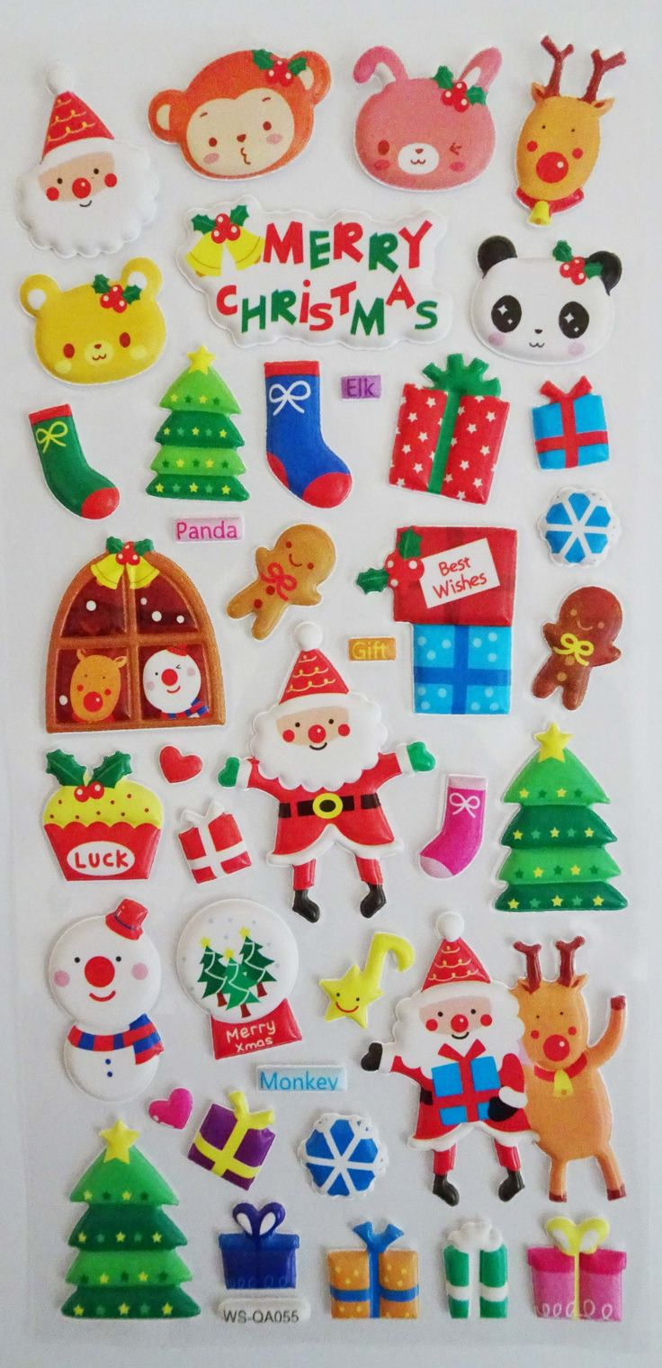 Santa and Friends Christmas Stickers. Ships worldwide from Canada!