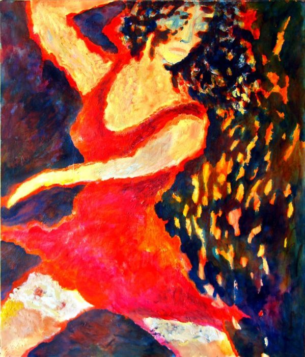 """Original Oil Painting - Red - Dancing lady - Contemporary Art - Wall Art - Huge - Large - Oil on canvas - Modern portrait - 43x55"""""""