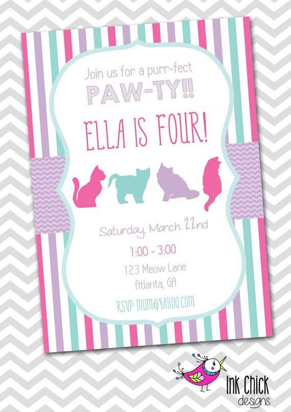 Kitten/Cat Birthday Invitation  Printable by InkChickDesigns, $10.00