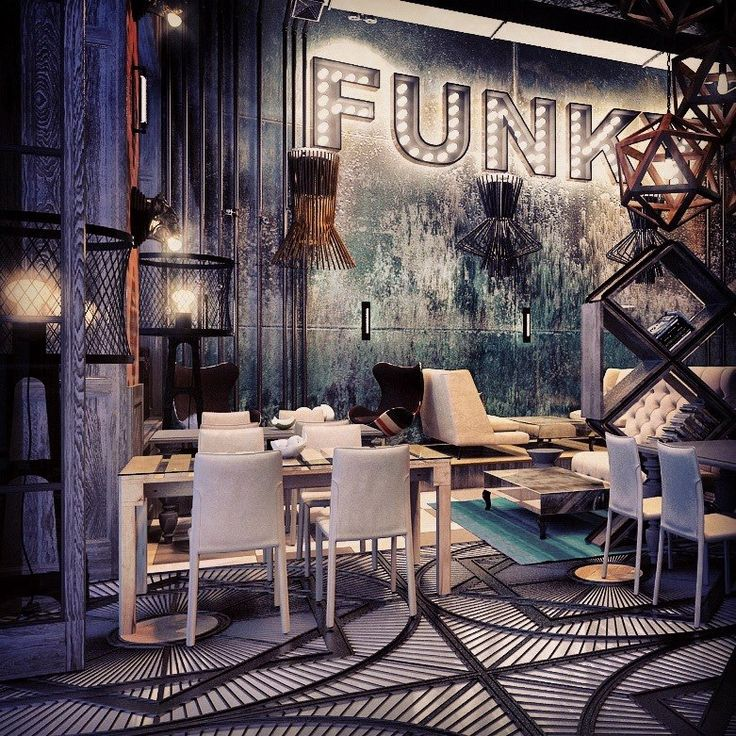 Restaurant Funk interior design by Annis Lender. Get Inspired Today! Introducing Moire Studios  ☮ || Feel Free to Follow us @moirestudiosjkt for more amazing pins like this. Or visit our website www.moirestudiosjkt.com to know more about us. || ☮ #architecture #houseArchitecture #modernArchitecture