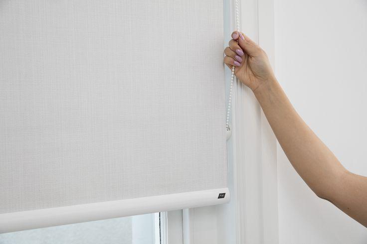 Dual Roller Blinds. Standard Chain operation. Fabric Range: Ethos. Colour: Aura. Opacity: Blockout.