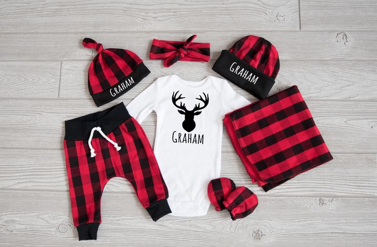 Baby Boy Coming Home Outfit, Christmas: CHOOSE YOUR COMBO Personalized Deer Bodysuit, Buffalo Plaid Harem Pants, Slouchy Hat, Swaddle, Mitts by TheHumbleLemon on Etsy https://www.etsy.com/listing/563457979/baby-boy-coming-home-outfit-christmas