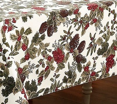 Beautiful Ralph Lauren Birchmont Berries Ivy Holiday Tablecloth 60 X 120 Nip