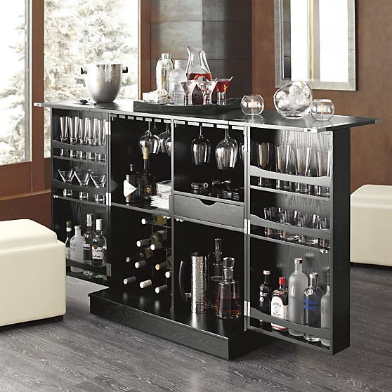 Steamer Bar Cabinet in Bar Cabinets | Crate and Barrel  - OMG! this is kewl. lots of storage space! :)