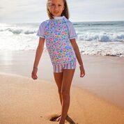 Girls sun shirt and girls swim shorts. Platypus bloom design. UPF 50+. Aussie swimwear