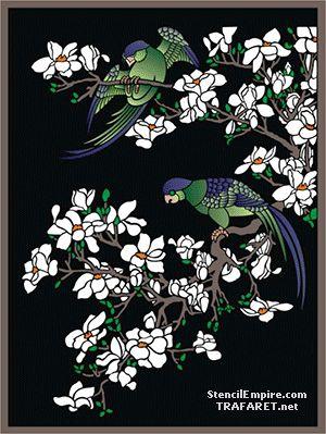 Papegojor på Magnolia • Mönster till dekor • handla online på Internet