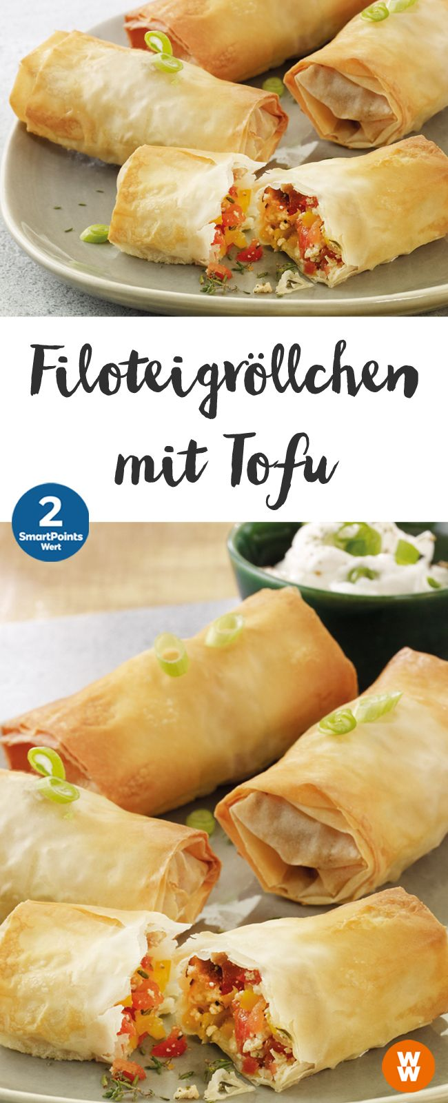 Filoteigröllchen mit Tofu | 8 Portionen, 2 SmartPoints/Portion, Weight Watchers, vegetarisch