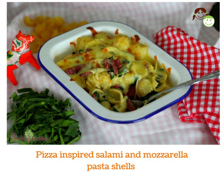 Pizza inspired salami and mozzarella pasta shells