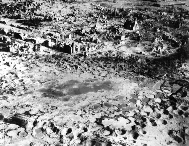 The city of Wesel lies in ruins after Allied bombardment. March 1945.