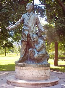 Haymarket affair - Altgeld Monument (by Borglum) erected by the Illinois Legislature in Lincoln Park, Chicago (1915)