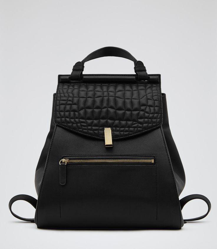 Womens Black Quilted Leather Rucksack - Reiss Alto, a backpack is my essential #3 !