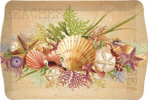 "Decorative Serving Trays | Beachcomber Sea Shell 17"" Melamine Outdoor Serving Tray"
