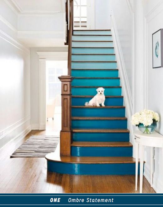 Love this ombre staircase: via @Katya du Bois.Bazaar / Bright Bazaar Blog : Three Ways To DIY A Colourful Blue Staircase