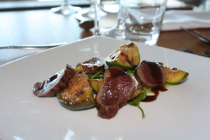 Smoked Hahndorf Venison, fresh pea salad, char grilled figs