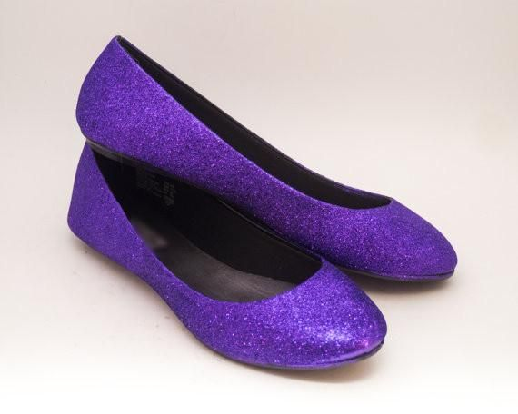 Women's Sparkly Purple Glitter Ballet Flats Wedding Bride Princess Prom Shoes